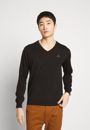 CLASSIC COTTON V-NECK - Stickad tröja - black