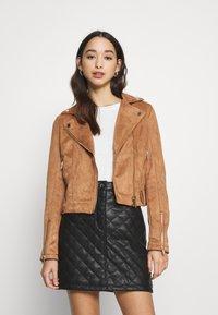 Miss Selfridge - BIKER - Faux leather jacket - tan - 0