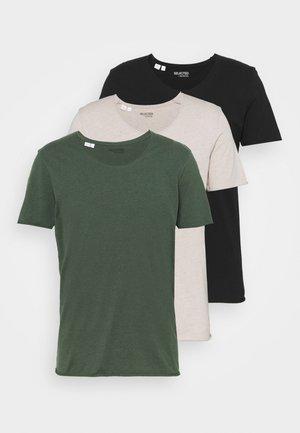 SLHNEWMERCE O NECK TEE 3PACK - T-shirt basic - black/dove melange/cilantro melan