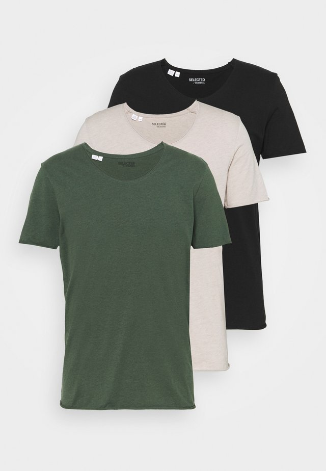 SLHNEWMERCE O NECK TEE 3PACK - T-shirt basique - black/dove melange/cilantro melan