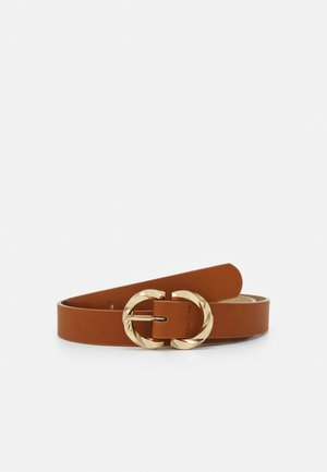 PCTWISTY BELT - Pásek - cognac/gold-coloured