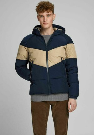 Winter jacket - dark-blue denim, beige