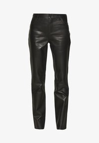 PANTS - Leather trousers - black