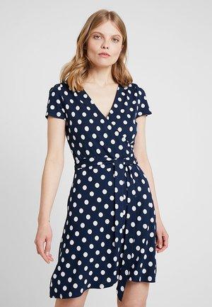 WRAP RUFFLE DRESS - Jersey dress - navy