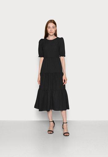 TEXTURE PUFF TIER MIDI - Day dress - black