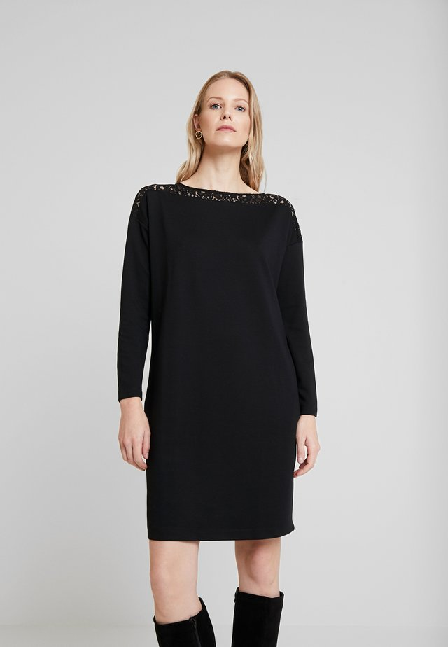 DRESS WITH INSERT - Sukienka z dżerseju - deep black