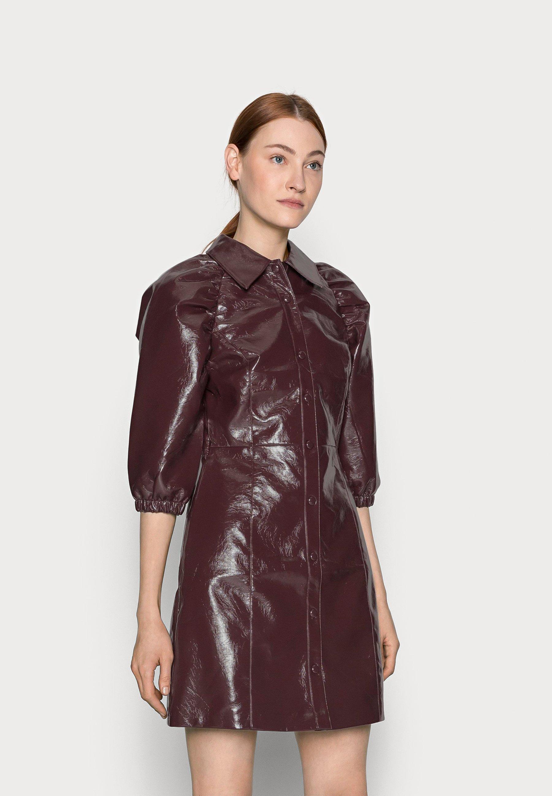 Women LADIES DRESS  - Shirt dress - burgundy