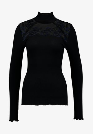 SILK-MIX T-SHIRT TURTLENECK REGULAR LS W/LACE - Langarmshirt - black