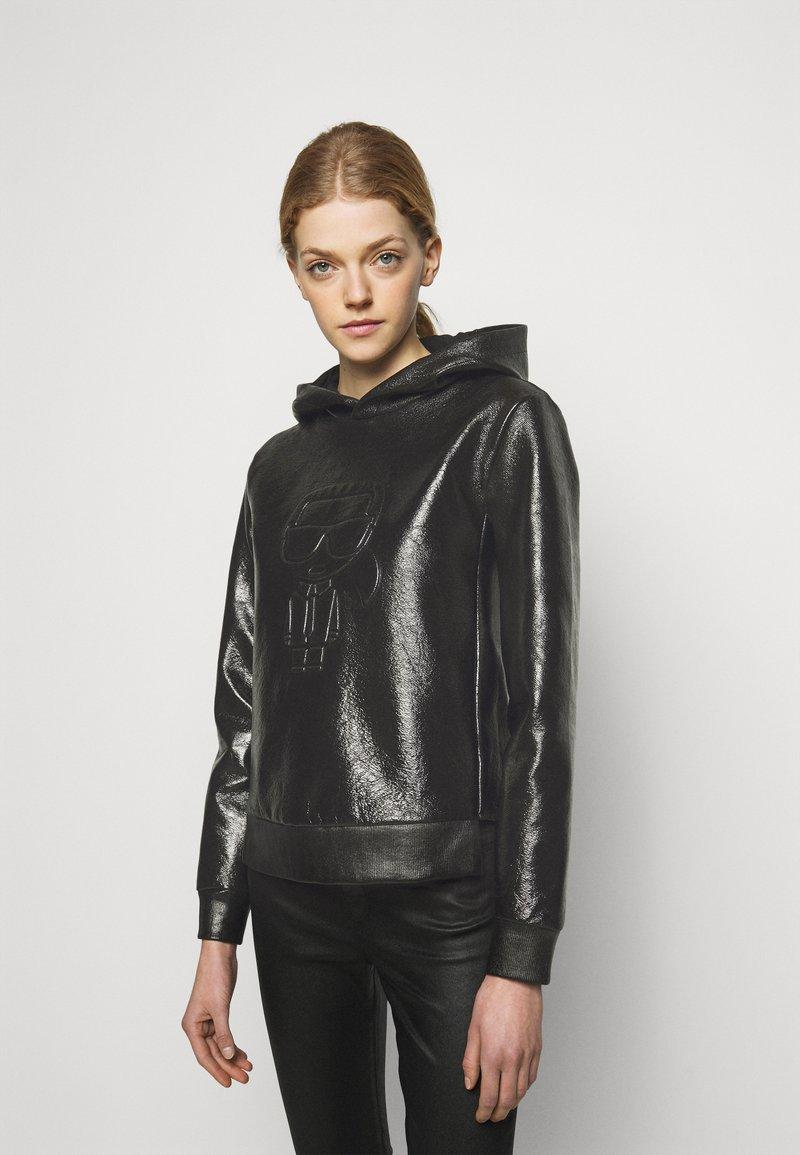 KARL LAGERFELD - IKONIK HOODIE - Bluza z kapturem - black