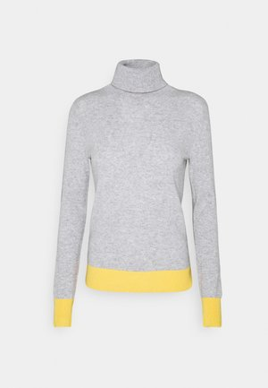 TURTLENECK COLOR BLOCK - Svetr - light grey/yellow
