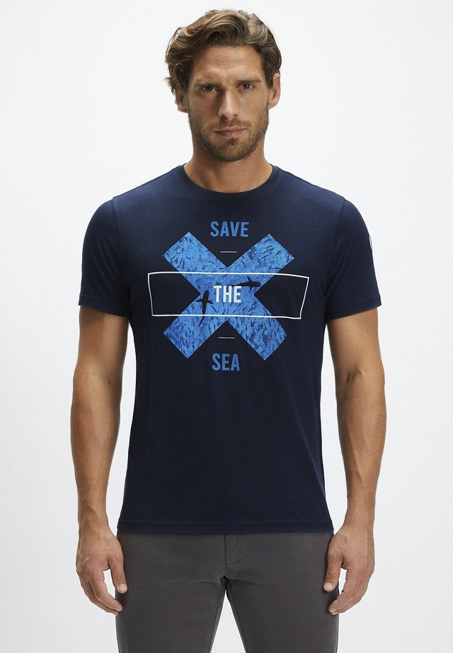 Print T-shirt - navy blue