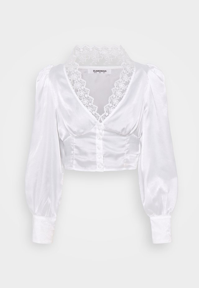 LONG SLEEVE LOW V-NECK BLOUSE - Bluzka - white
