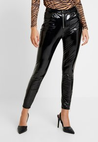 ONLY - ONLBEA GLAZED PANT - Trousers - black - 0