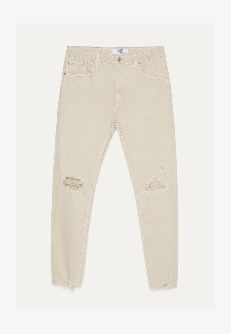 Bershka - MIT RISSEN  - Skinny džíny - beige