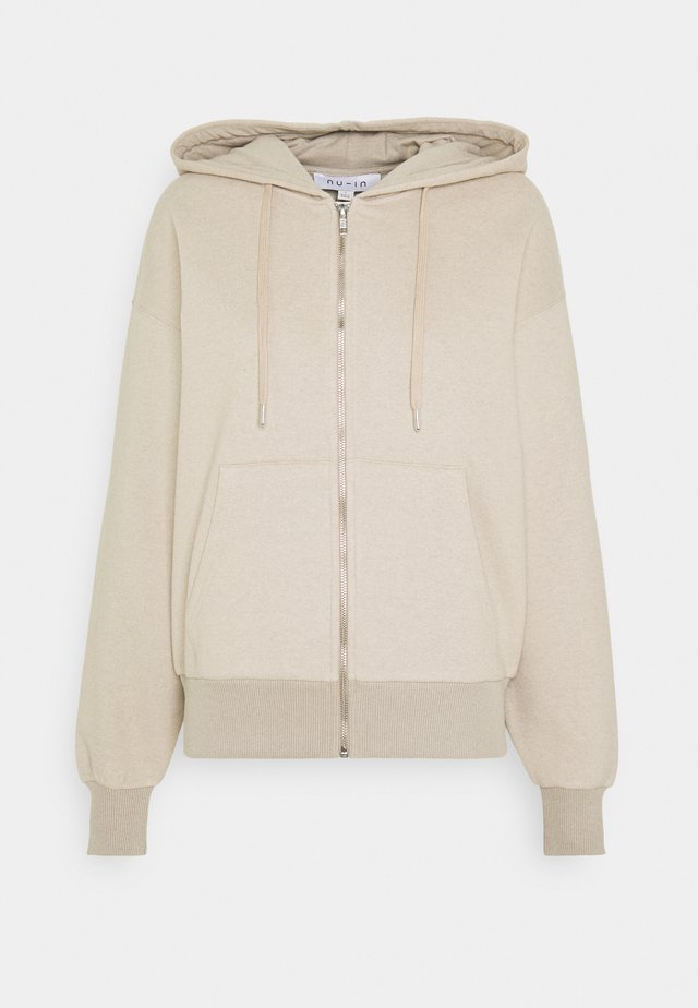 BASIC ZIP UP HOODIE - Collegetakki - beige