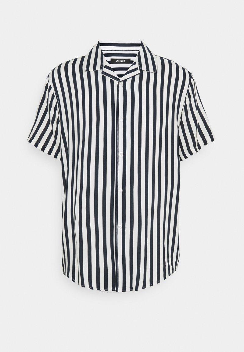 Zign - UNISEX - Button-down blouse - dark blue/white