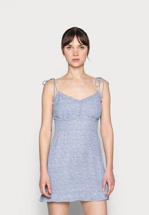 BARE TIE SHOULDER SLIM WAIST MINI - Kjole - blue