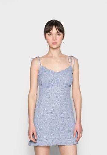 BARE TIE SHOULDER SLIM WAIST MINI - Vestido informal - blue