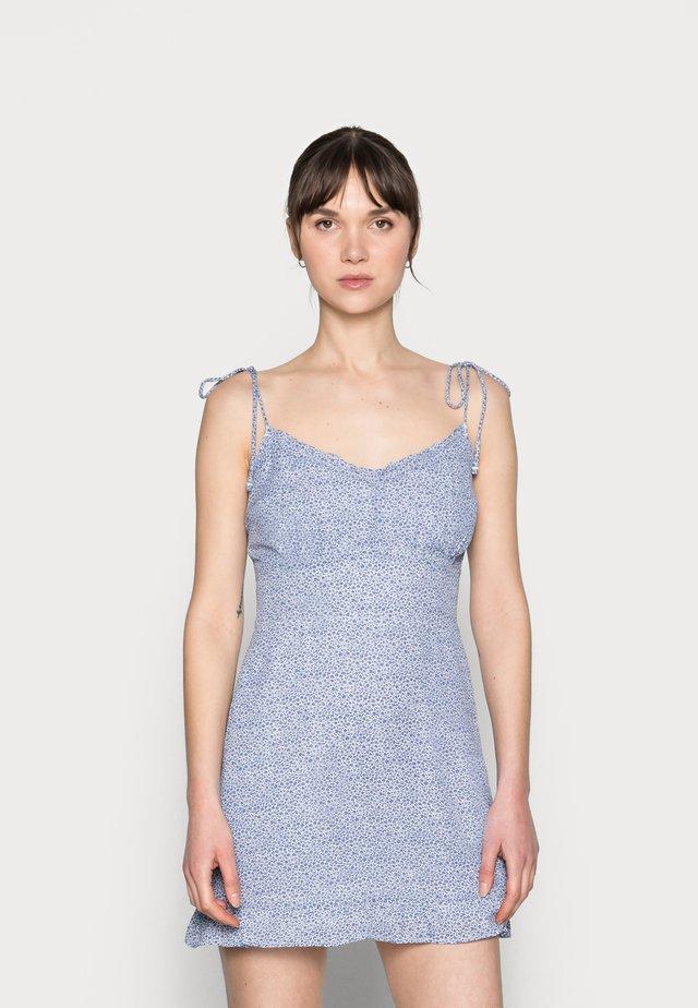 BARE TIE SHOULDER SLIM WAIST MINI - Korte jurk - blue