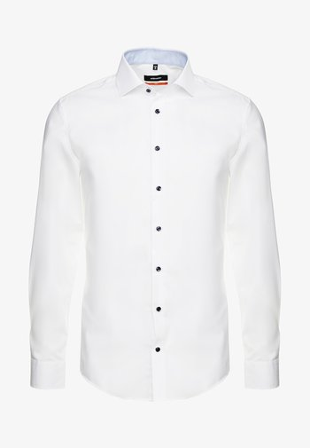 SLIM SPREAD PATCH - Camicia elegante - weiß/hellblau