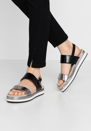 Platform sandals - gunmetal/black