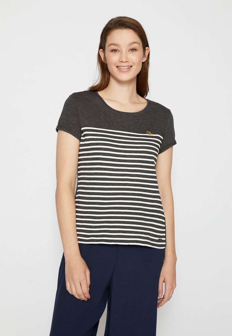 TOM TAILOR DENIM - Print T-shirt - shale grey melange