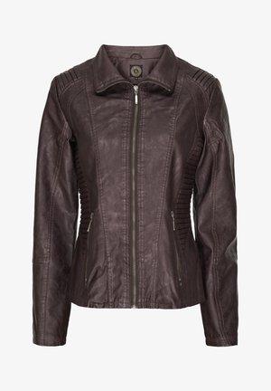 MILAN - Faux leather jacket - dark brown