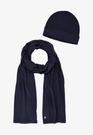 2 PIECE SET - Scarf - knitted navy melange