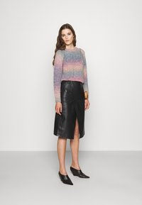 STUDIO ID - HOLLY WRAP ASYMMETRIC MIDI SKIRT - A-line skirt - black - 1