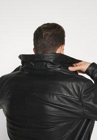 Selected Homme - SLHICONIC BLOUSON  - Kožená bunda - black - 3
