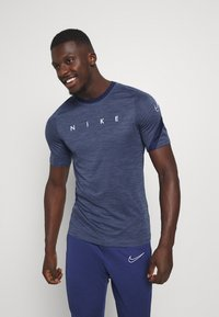 Nike Performance - DRY ACADEMY TOP - Print T-shirt - blue void/white - 0