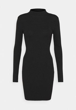 HIGH NECK MINI DRESS - Shift dress - black