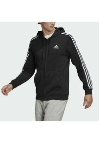 adidas Performance - ESSENTIALS FRENCH TERRY 3-STRIPES FULL-ZIP HOODIE - Zip-up hoodie - black - 3
