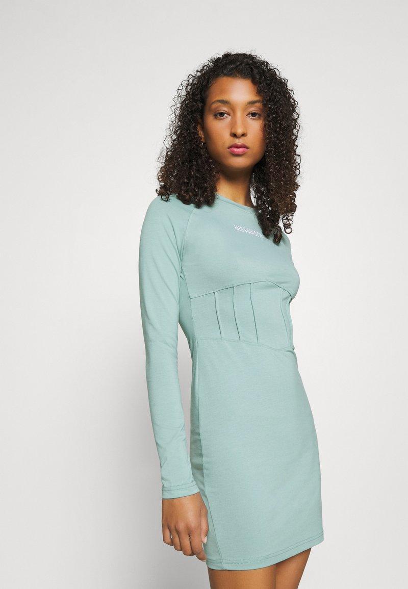Missguided - BRANDED CORSET WAIST DRESS - Vestido de tubo - blue
