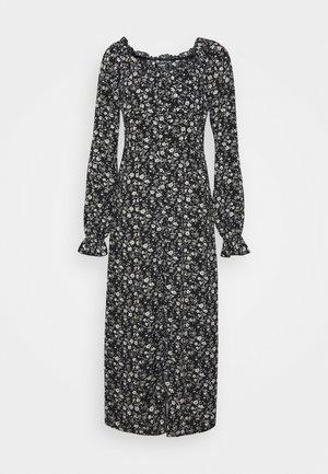 BUTTON MILKMAID MIDI DRESS FLORAL - Day dress - black