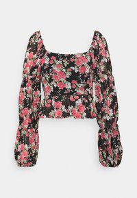 Missguided - FLORAL BUTTON THROUGH PUFF SLEEVE BLOUSE - Blůza - black - 1