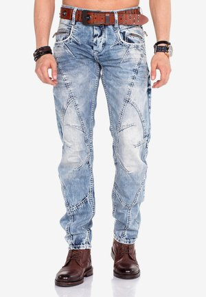 WITH BELT - Relaxed fit jeans - blue jeans-taba