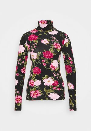 FLORAL ROLL NECK - Long sleeved top - black