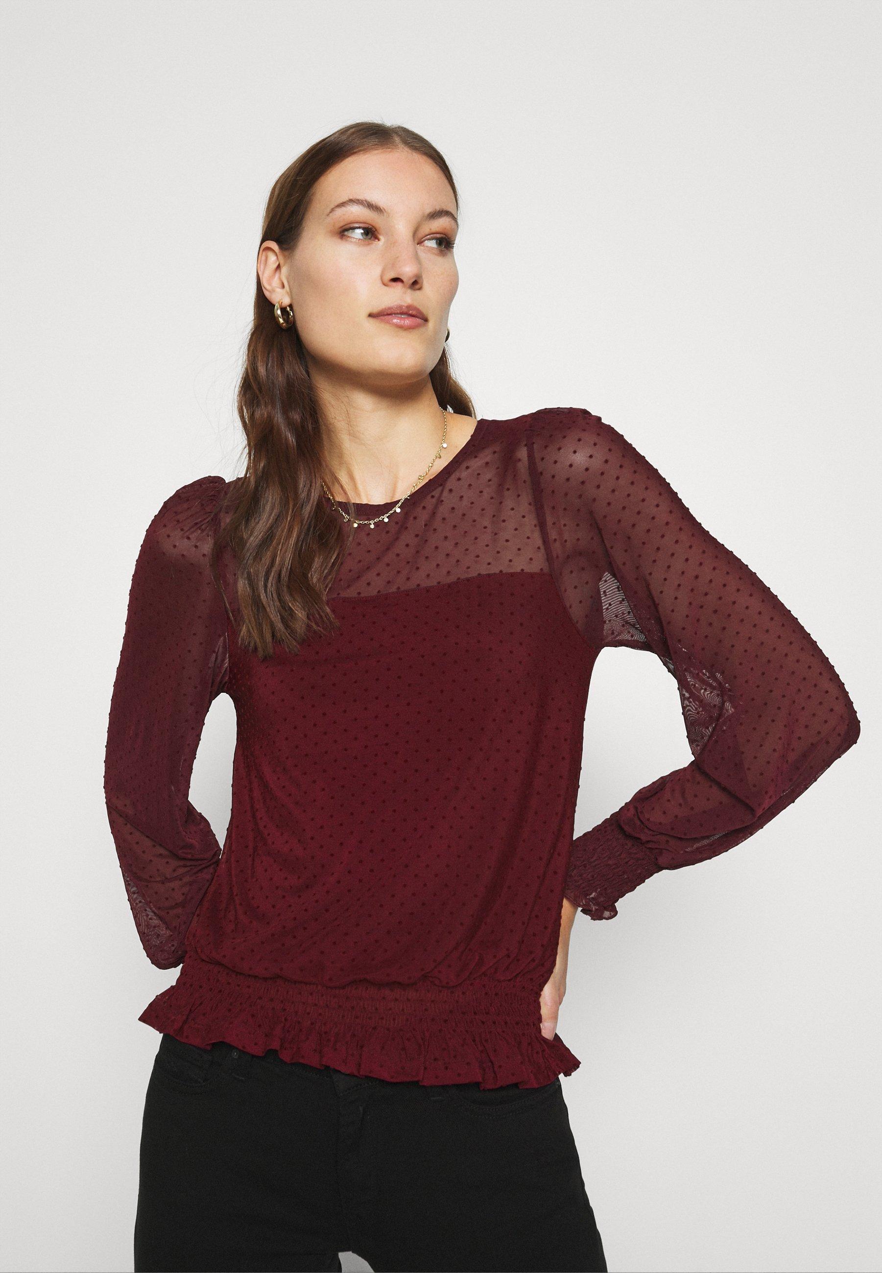Women DOBBY SHIRRED - Long sleeved top