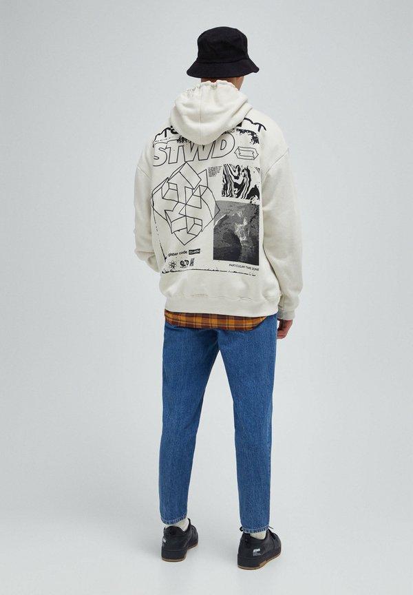 PULL&BEAR Bluza z kapturem - white/biały Odzież Męska ORSG