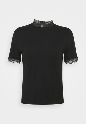 VIDIAMO LACE DETAIL TOP - Print T-shirt - black