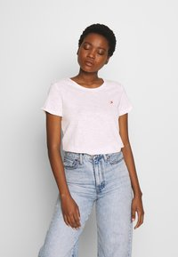 TOM TAILOR DENIM - SLUB TEE WITH EMBRO - Print T-shirt - light pink/white - 0