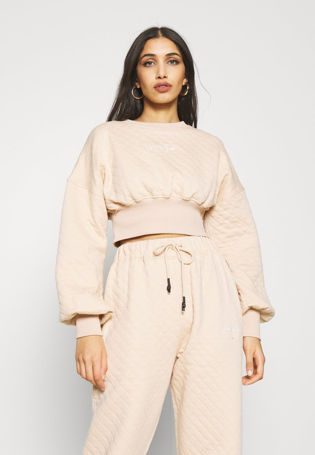 QUILTED CORSET CROP - Felpa - stone