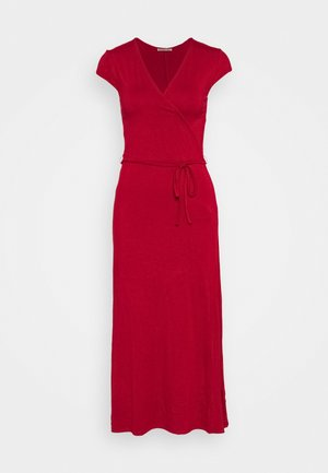 Short sleeves wrap belted maxi dress - Vestito lungo - red