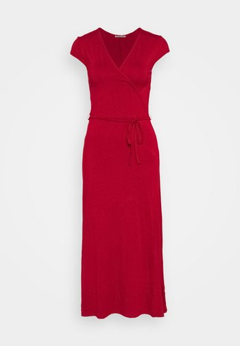 Short sleeves wrap belted maxi dress