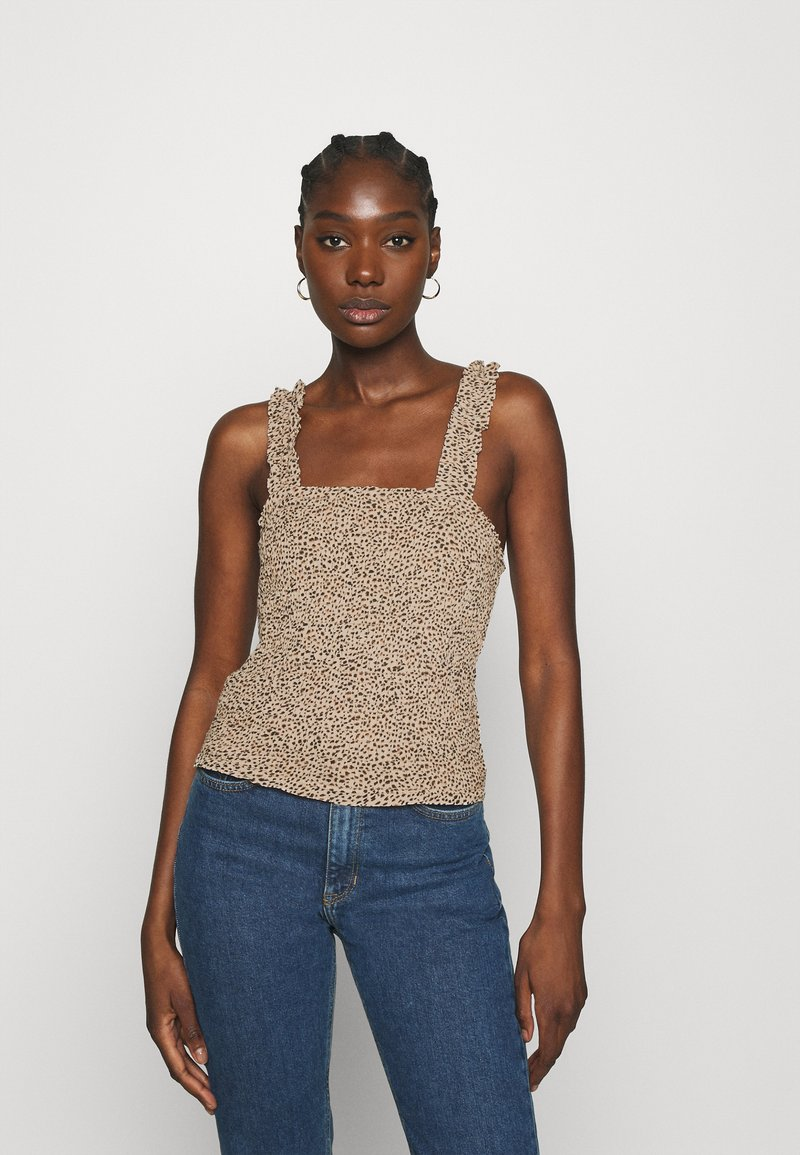 Abercrombie & Fitch - SMOCK WAIST CAMI - Blouse - brown
