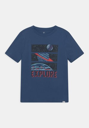 BOY INTERACT GRAPHIC - T-shirt con stampa - chrome blue