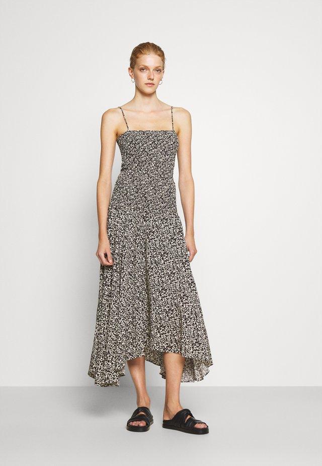 MICRO FLORAL SMOCKED DRESS - Vestito estivo - ecru/black