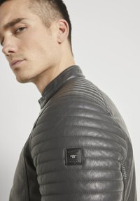TOM TAILOR - Faux leather jacket - stone grey fake leather - 3