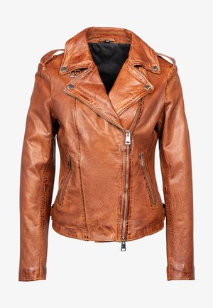 UNDRESS ME! - Leather jacket - cognac